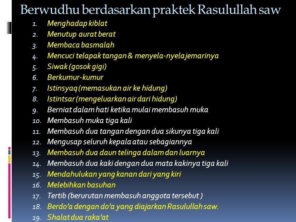 Berwudhu berdasarkan praktek Rasulullah saw 1. Menghadap kiblat 2.