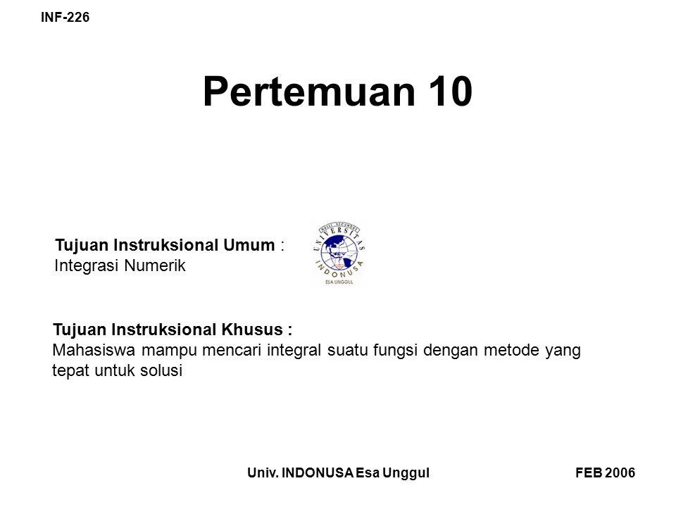 FEB 2006Univ. INDONUSA Esa Unggul INF-226 Pertemuan 10 Tujuan Instruksional Umum : Integrasi Numerik Tujuan Instruksional Khusus : Mahasiswa mampu men