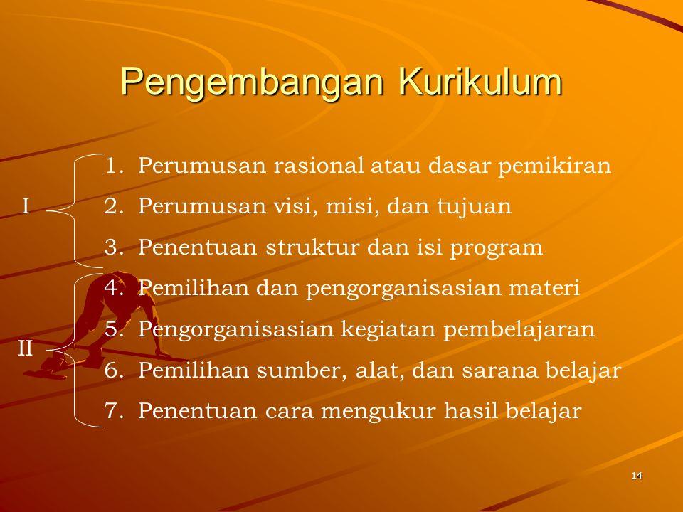14 Pengembangan Kurikulum 1.Perumusan rasional atau dasar pemikiran 2.Perumusan visi, misi, dan tujuan 3.Penentuan struktur dan isi program 4.Pemiliha