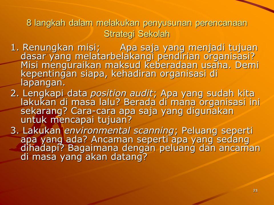 21 8 langkah dalam melakukan penyusunan perencanaan Strategi Sekolah 1. Renungkan misi; Apa saja yang menjadi tujuan dasar yang melatarbelakangi pendi