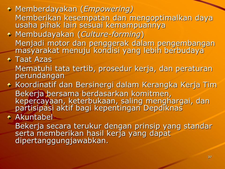 37 Memberdayakan (Empowering) Memberikan kesempatan dan mengoptimalkan daya usaha pihak lain sesuai kemampuannya Membudayakan (Culture-forming) Menjad