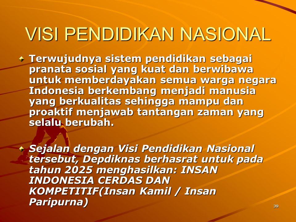 39 VISI PENDIDIKAN NASIONAL Terwujudnya sistem pendidikan sebagai pranata sosial yang kuat dan berwibawa untuk memberdayakan semua warga negara Indone