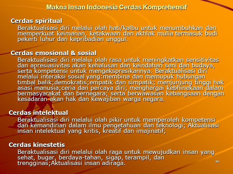 40 Makna Insan Indonesia Cerdas Komprehensif Cerdas spiritual Cerdas spiritual Beraktualisasi diri melalui olah hati/kalbu untuk menumbuhkan dan mempe