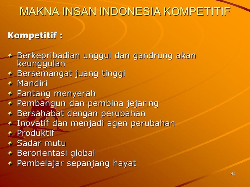 41 MAKNA INSAN INDONESIA KOMPETITIF Kompetitif : Berkepribadian unggul dan gandrung akan keunggulan Bersemangat juang tinggi Mandiri Pantang menyerah