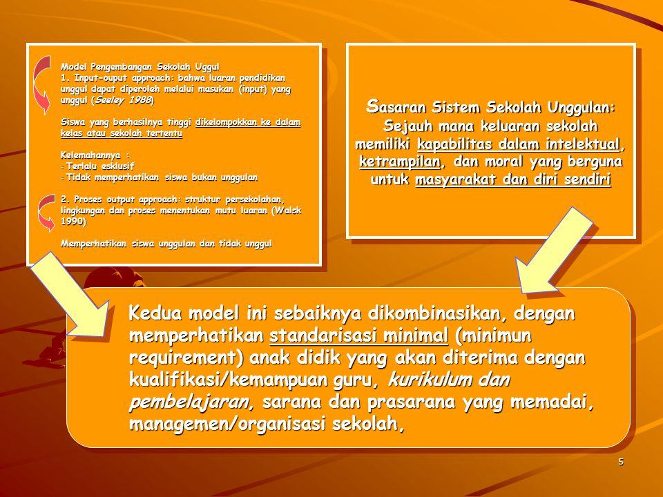 5 Model Pengembangan Sekolah Uggul 1. Input-ouput approach: bahwa luaran pendidikan unggul dapat diperoleh melalui masukan (input) yang unggul (Seeley