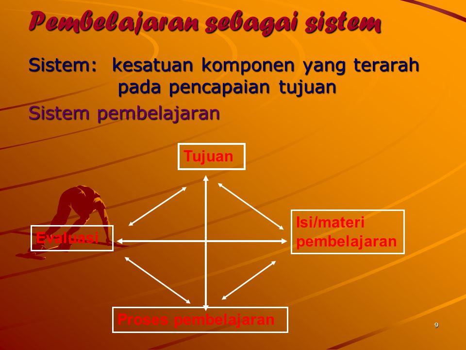 9 Pembelajaran sebagai sistem Sistem: kesatuan komponen yang terarah pada pencapaian tujuan pada pencapaian tujuan Sistem pembelajaran Tujuan Isi/mate