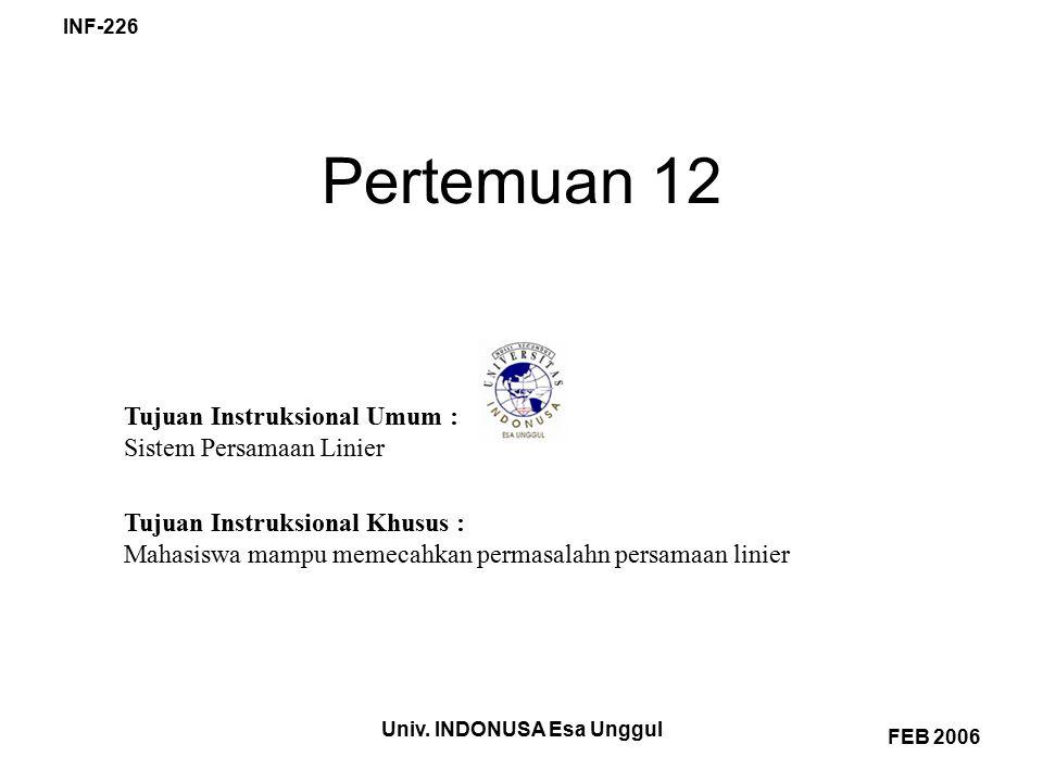 Univ. INDONUSA Esa Unggul INF-226 FEB 2006 Pertemuan 12 Tujuan Instruksional Umum : Sistem Persamaan Linier Tujuan Instruksional Khusus : Mahasiswa ma
