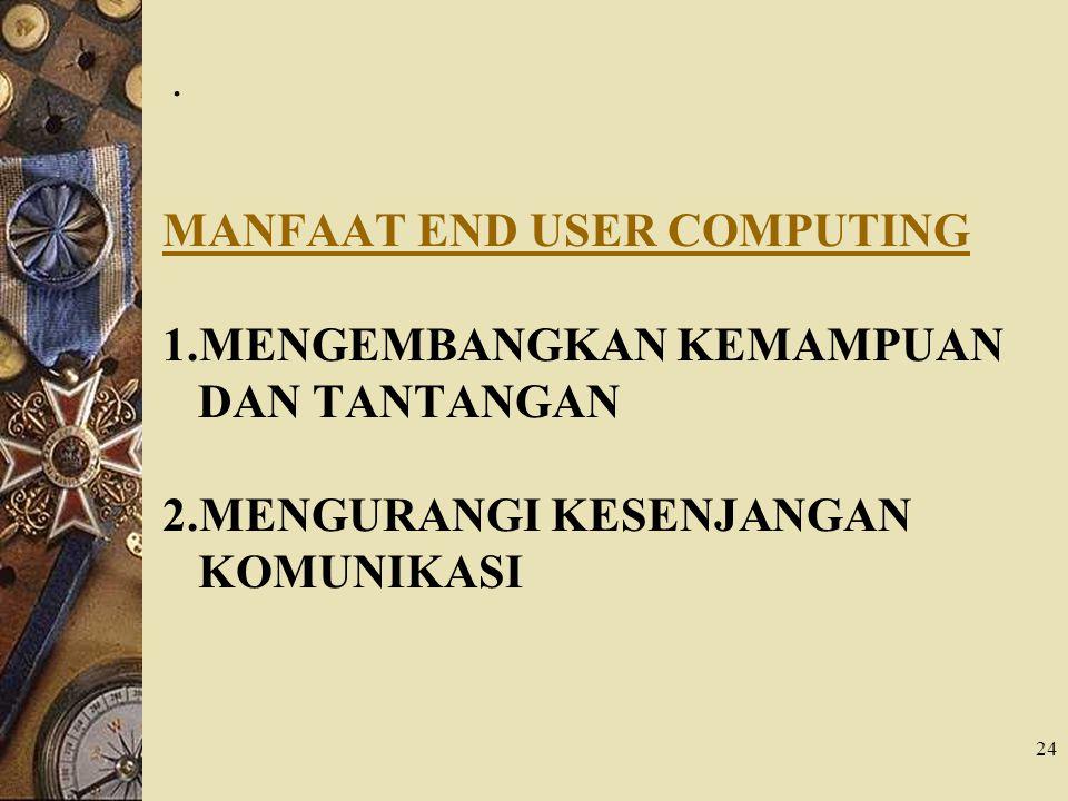 24. MANFAAT END USER COMPUTING 1.MENGEMBANGKAN KEMAMPUAN DAN TANTANGAN 2.MENGURANGI KESENJANGAN KOMUNIKASI