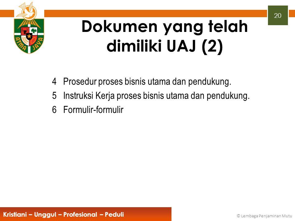 20 Kristiani – Unggul – Profesional – Peduli © Lembaga Penjaminan Mutu Dokumen yang telah dimiliki UAJ (2) 4Prosedur proses bisnis utama dan pendukung