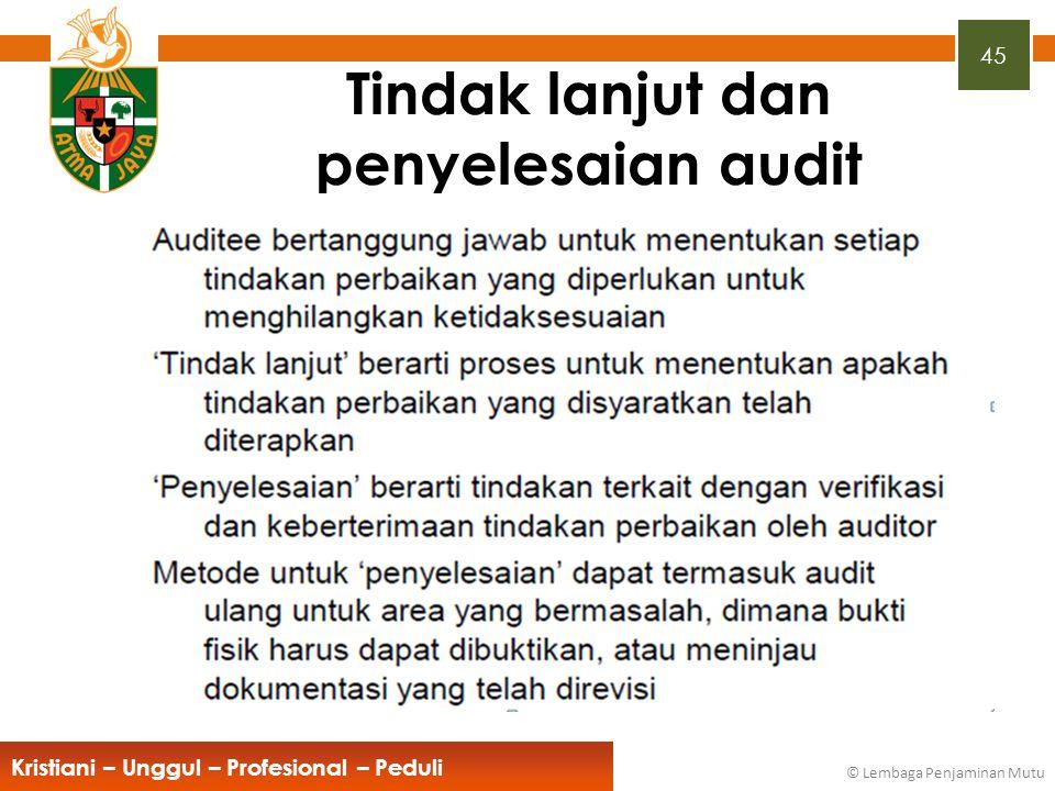 45 Kristiani – Unggul – Profesional – Peduli © Lembaga Penjaminan Mutu Tindak lanjut dan penyelesaian audit