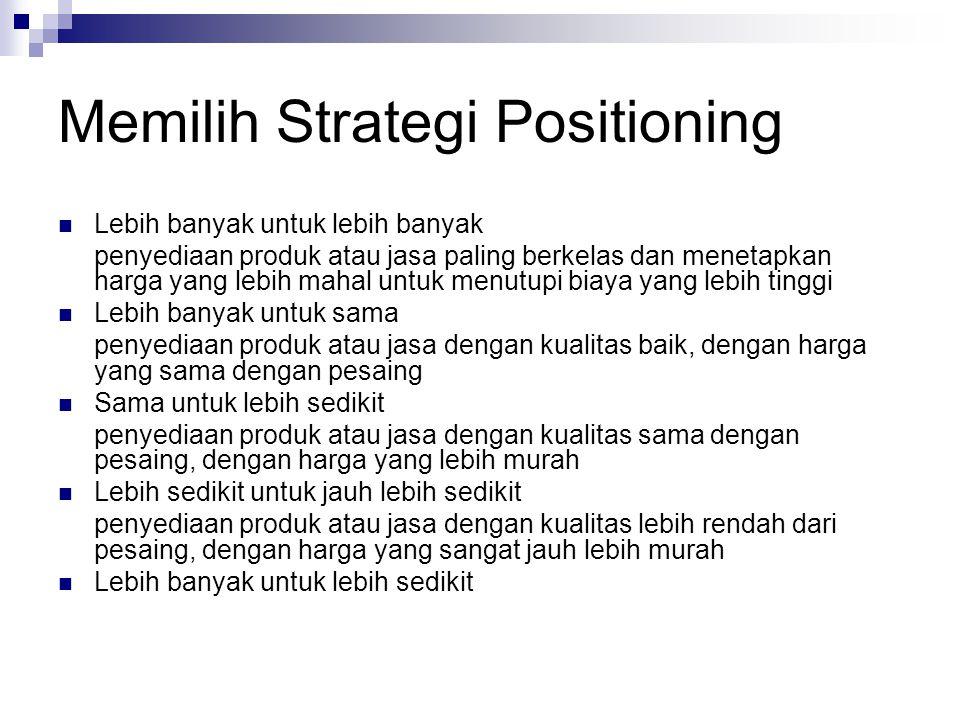 Memilih Strategi Positioning Lebih banyak untuk lebih banyak penyediaan produk atau jasa paling berkelas dan menetapkan harga yang lebih mahal untuk m