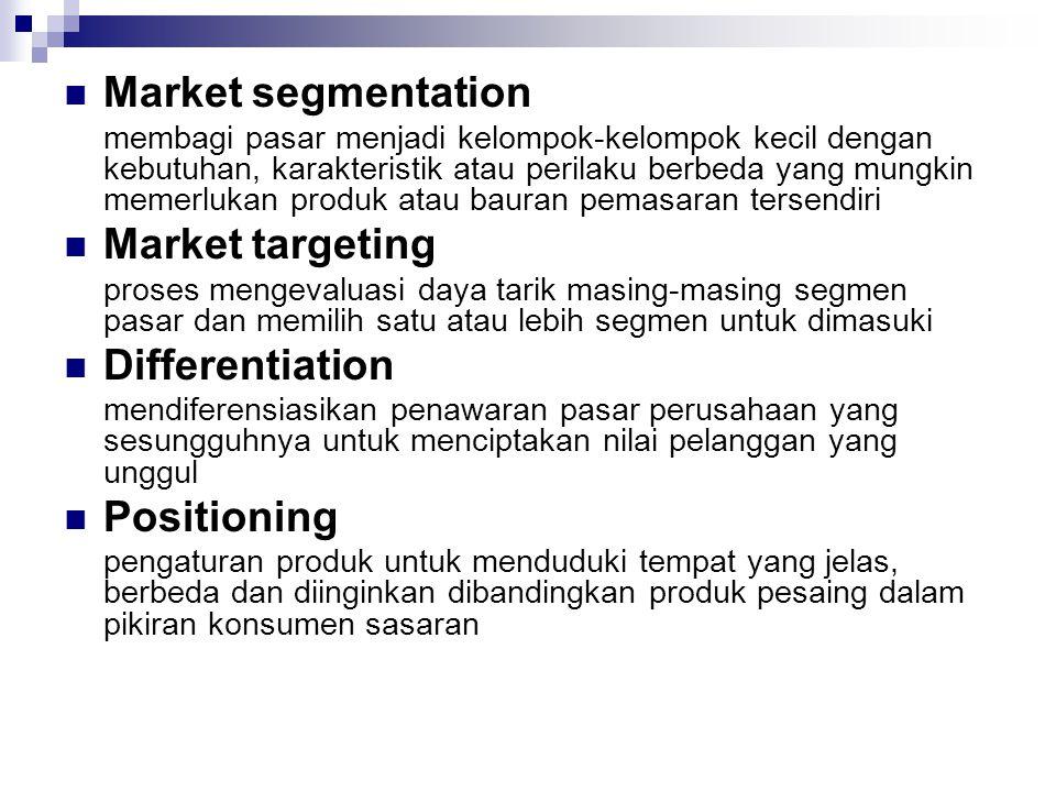 Market segmentation membagi pasar menjadi kelompok-kelompok kecil dengan kebutuhan, karakteristik atau perilaku berbeda yang mungkin memerlukan produk