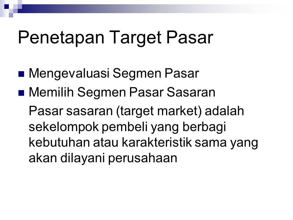 Penetapan Target Pasar Mengevaluasi Segmen Pasar Memilih Segmen Pasar Sasaran Pasar sasaran (target market) adalah sekelompok pembeli yang berbagi keb