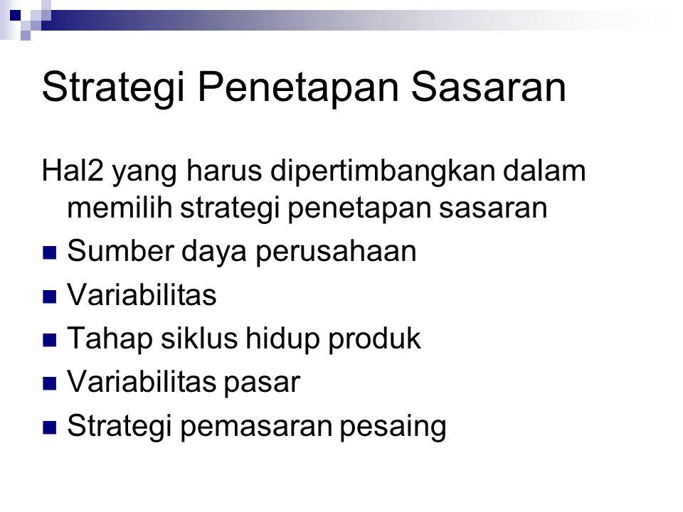 Strategi Penetapan Sasaran Hal2 yang harus dipertimbangkan dalam memilih strategi penetapan sasaran Sumber daya perusahaan Variabilitas Tahap siklus h