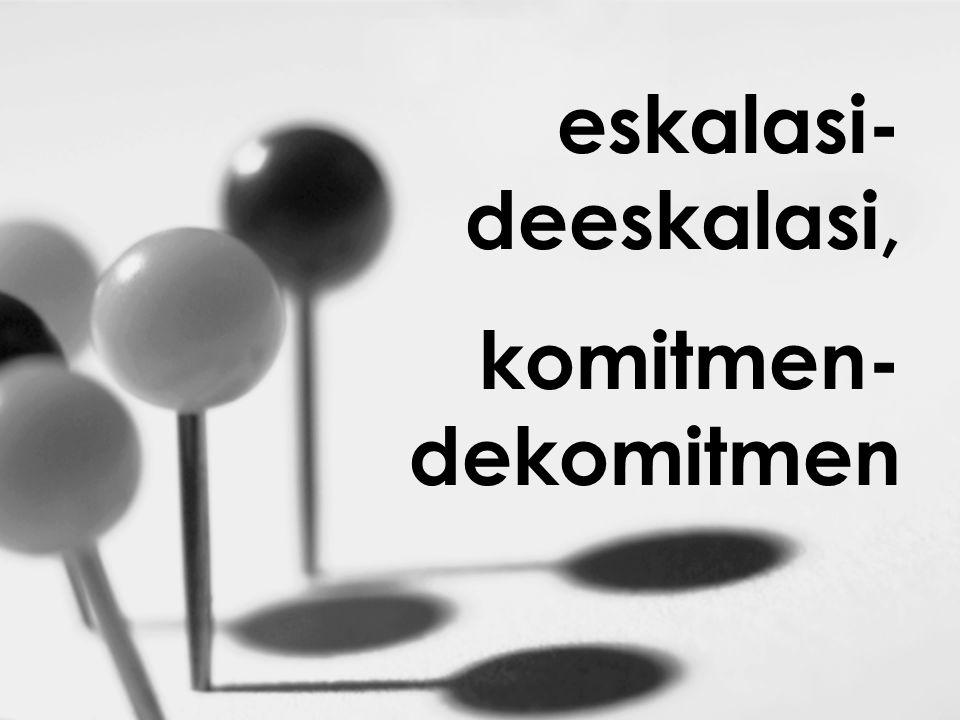 eskalasi- deeskalasi, komitmen- dekomitmen