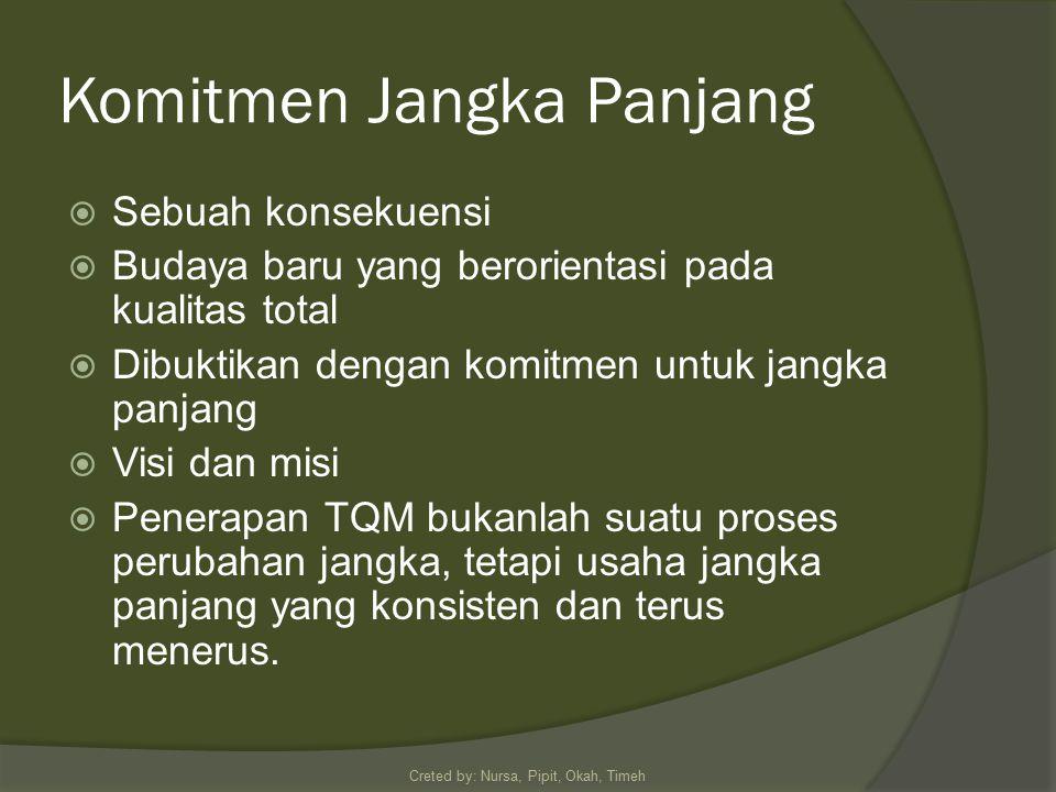 Komitmen Jangka Panjang  Sebuah konsekuensi  Budaya baru yang berorientasi pada kualitas total  Dibuktikan dengan komitmen untuk jangka panjang  Visi dan misi  Penerapan TQM bukanlah suatu proses perubahan jangka, tetapi usaha jangka panjang yang konsisten dan terus menerus.