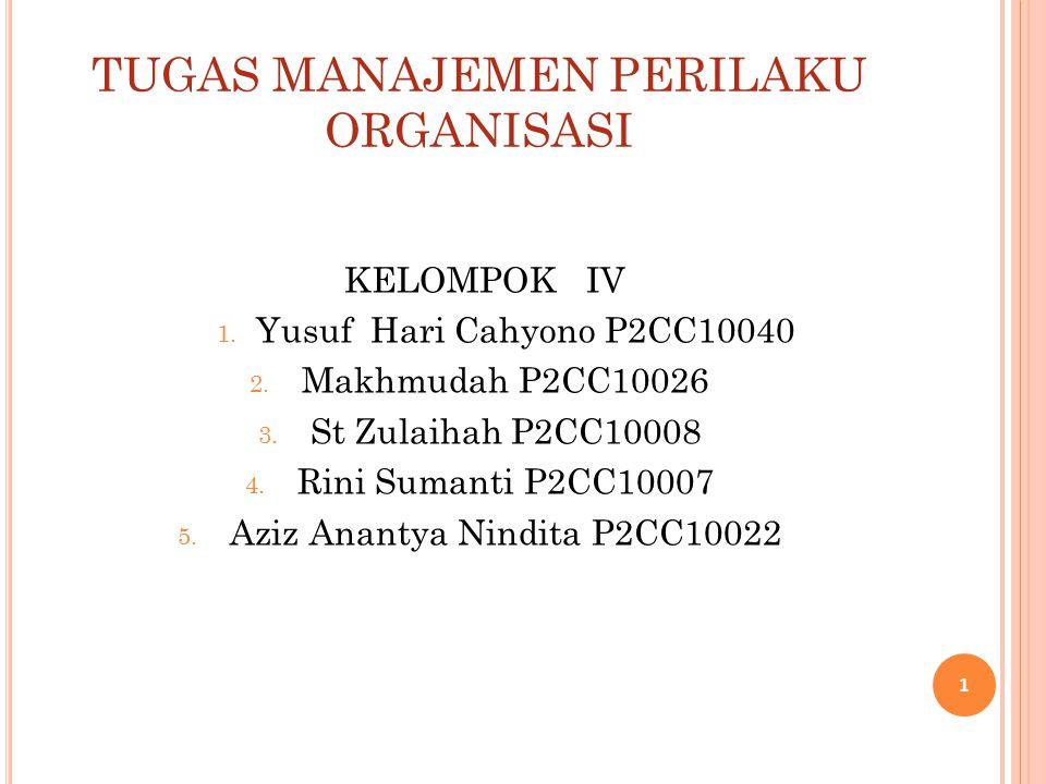 TUGAS MANAJEMEN PERILAKU ORGANISASI KELOMPOK IV 1. Yusuf Hari Cahyono P2CC10040 2. Makhmudah P2CC10026 3. St Zulaihah P2CC10008 4. Rini Sumanti P2CC10