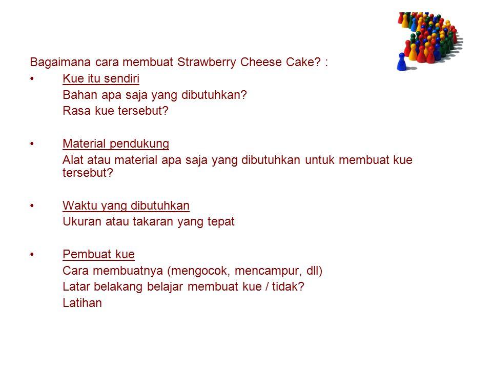 Bagaimana cara membuat Strawberry Cheese Cake.: Kue itu sendiri Bahan apa saja yang dibutuhkan.