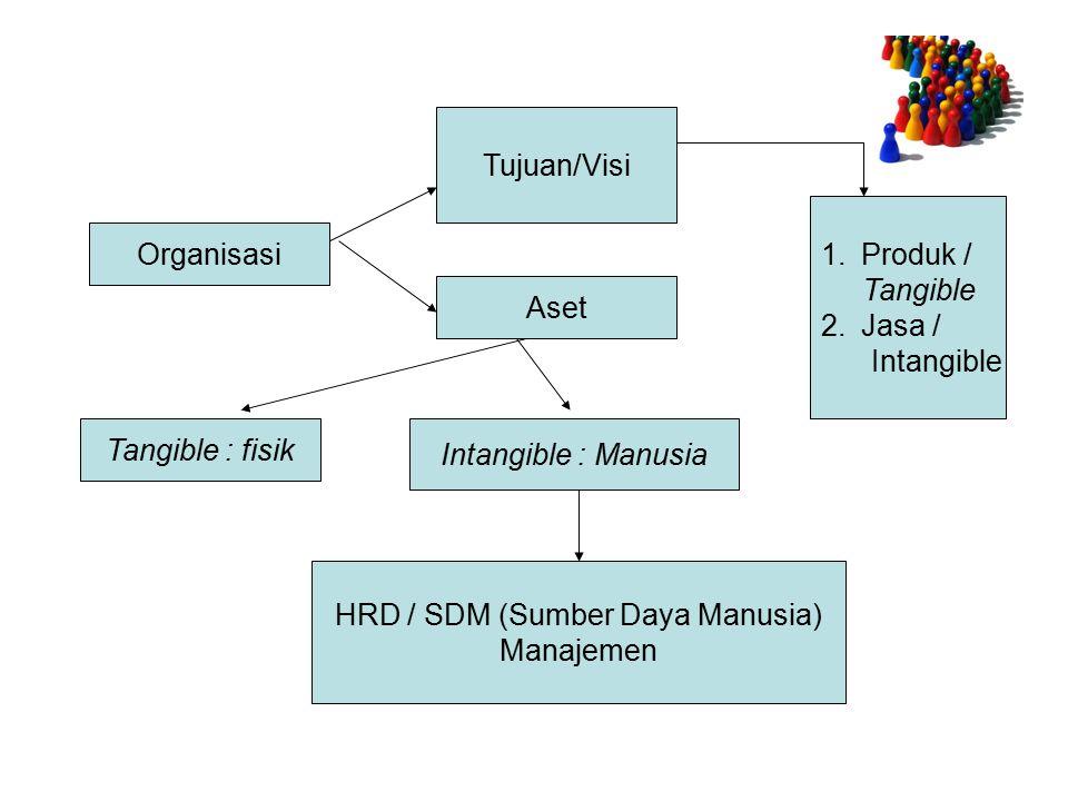 Organisasi Tujuan/Visi Aset 1.Produk / Tangible 2.Jasa / Intangible Tangible : fisik Intangible : Manusia HRD / SDM (Sumber Daya Manusia) Manajemen