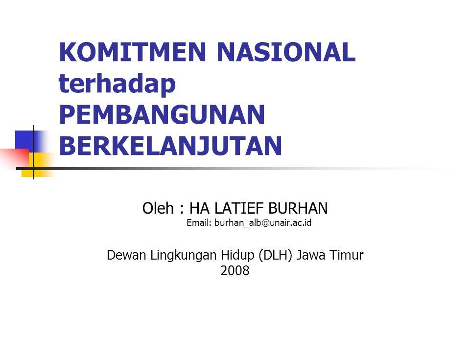 KOMITMEN NASIONAL terhadap PEMBANGUNAN BERKELANJUTAN Oleh : HA LATIEF BURHAN Email: burhan_alb@unair.ac.id Dewan Lingkungan Hidup (DLH) Jawa Timur 200