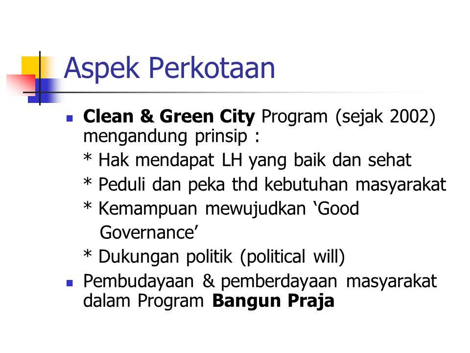Aspek Perkotaan Clean & Green City Program (sejak 2002) mengandung prinsip : * Hak mendapat LH yang baik dan sehat * Peduli dan peka thd kebutuhan mas