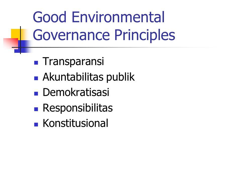Good Environmental Governance Principles Transparansi Akuntabilitas publik Demokratisasi Responsibilitas Konstitusional