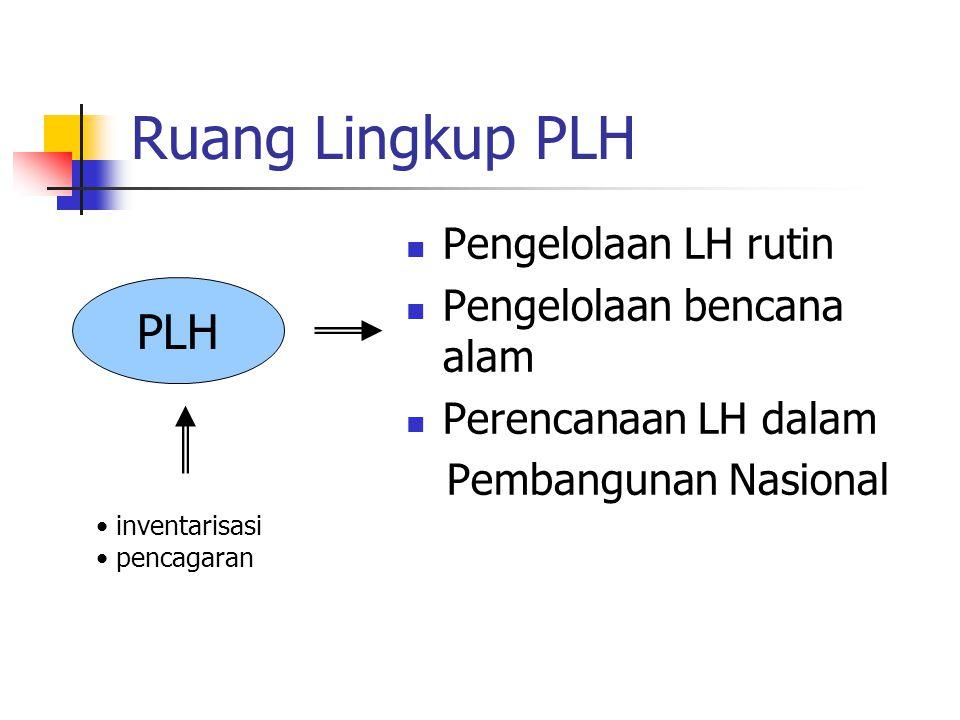 Ruang Lingkup PLH Pengelolaan LH rutin Pengelolaan bencana alam Perencanaan LH dalam Pembangunan Nasional PLH inventarisasi pencagaran
