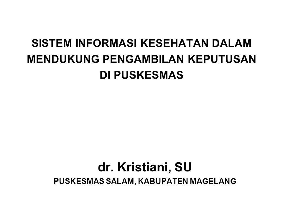 SISTEM INFORMASI KESEHATAN DALAM MENDUKUNG PENGAMBILAN KEPUTUSAN DI PUSKESMAS dr. Kristiani, SU PUSKESMAS SALAM, KABUPATEN MAGELANG