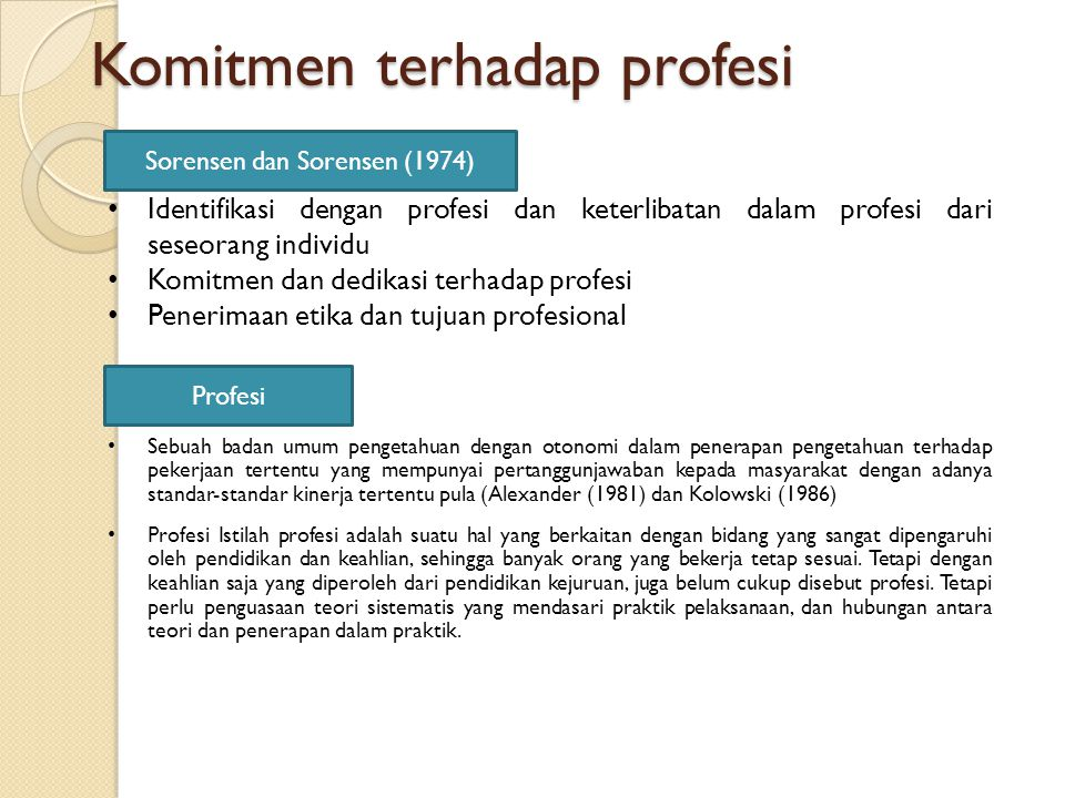 Komitmen terhadap profesi Sorensen dan Sorensen (1974) Identifikasi dengan profesi dan keterlibatan dalam profesi dari seseorang individu Komitmen dan dedikasi terhadap profesi Penerimaan etika dan tujuan profesional Profesi Sebuah badan umum pengetahuan dengan otonomi dalam penerapan pengetahuan terhadap pekerjaan tertentu yang mempunyai pertanggunjawaban kepada masyarakat dengan adanya standar-standar kinerja tertentu pula (Alexander (1981) dan Kolowski (1986) Profesi Istilah profesi adalah suatu hal yang berkaitan dengan bidang yang sangat dipengaruhi oleh pendidikan dan keahlian, sehingga banyak orang yang bekerja tetap sesuai.