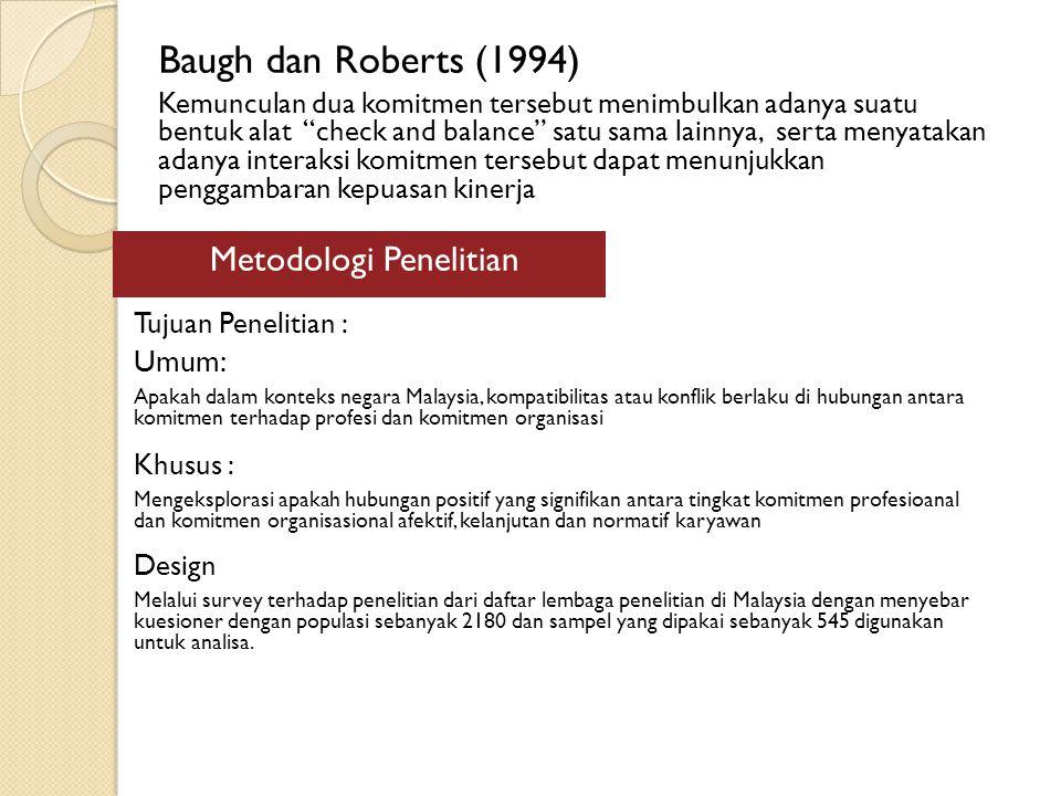 Baugh dan Roberts (1994) Kemunculan dua komitmen tersebut menimbulkan adanya suatu bentuk alat check and balance satu sama lainnya, serta menyatakan adanya interaksi komitmen tersebut dapat menunjukkan penggambaran kepuasan kinerja Metodologi Penelitian Tujuan Penelitian : Umum: Apakah dalam konteks negara Malaysia, kompatibilitas atau konflik berlaku di hubungan antara komitmen terhadap profesi dan komitmen organisasi Khusus : Mengeksplorasi apakah hubungan positif yang signifikan antara tingkat komitmen profesioanal dan komitmen organisasional afektif, kelanjutan dan normatif karyawan Design Melalui survey terhadap penelitian dari daftar lembaga penelitian di Malaysia dengan menyebar kuesioner dengan populasi sebanyak 2180 dan sampel yang dipakai sebanyak 545 digunakan untuk analisa.