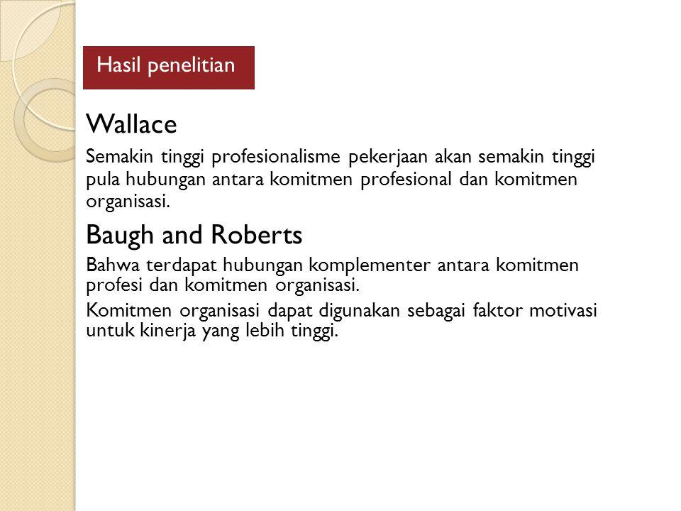 Hasil penelitian Wallace Semakin tinggi profesionalisme pekerjaan akan semakin tinggi pula hubungan antara komitmen profesional dan komitmen organisasi.