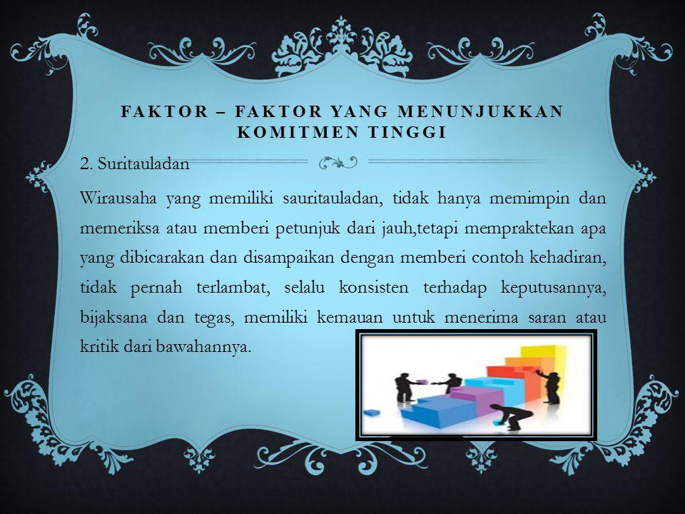 FAKTOR – FAKTOR YANG MENUNJUKKAN KOMITMEN TINGGI 2. Suritauladan Wirausaha yang memiliki sauritauladan, tidak hanya memimpin dan memeriksa atau member