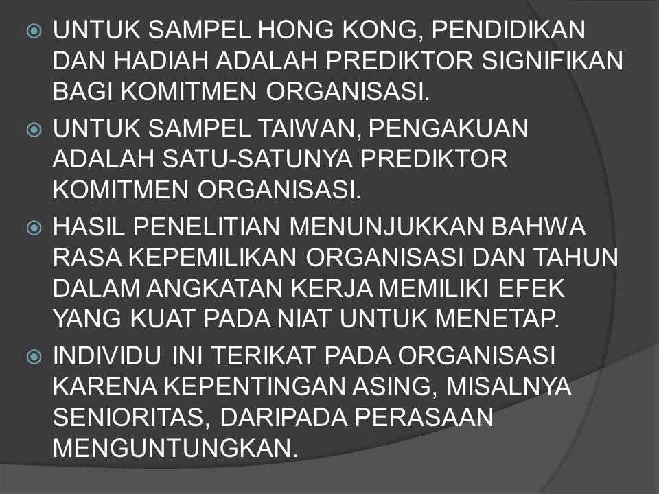  UNTUK SAMPEL HONG KONG, PENDIDIKAN DAN HADIAH ADALAH PREDIKTOR SIGNIFIKAN BAGI KOMITMEN ORGANISASI.