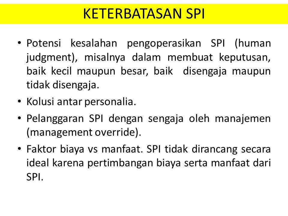 KETERBATASAN SPI Potensi kesalahan pengoperasikan SPI (human judgment), misalnya dalam membuat keputusan, baik kecil maupun besar, baik disengaja maup