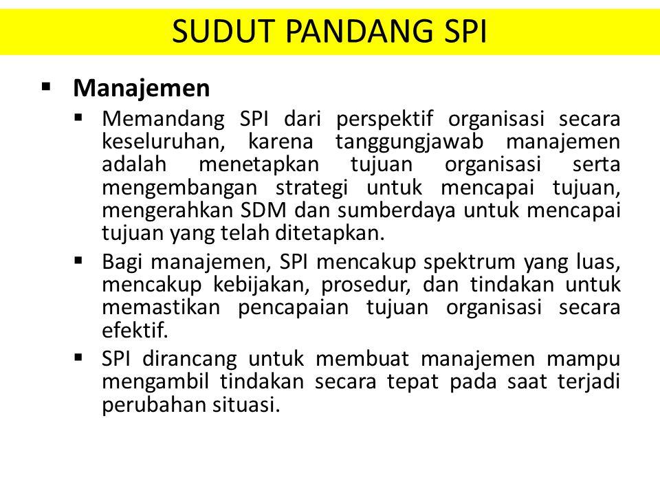 SUDUT PANDANG SPI  Manajemen  Memandang SPI dari perspektif organisasi secara keseluruhan, karena tanggungjawab manajemen adalah menetapkan tujuan o
