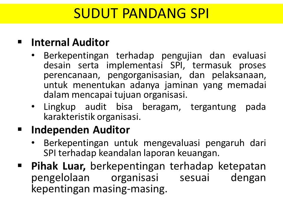 SUDUT PANDANG SPI  Internal Auditor Berkepentingan terhadap pengujian dan evaluasi desain serta implementasi SPI, termasuk proses perencanaan, pengor