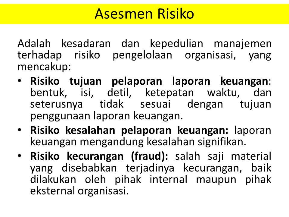 Asesmen Risiko Adalah kesadaran dan kepedulian manajemen terhadap risiko pengelolaan organisasi, yang mencakup: Risiko tujuan pelaporan laporan keuang