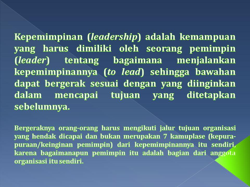 Expertise Pimpinan & Keterampilan dalam Pengaruh Kekuasaan Personal Perilaku pimpinan Taktik/Cara Mempengaruhi Posisi Kekuasaan Variabel Intervening - Terpenuhi - Komitmen - Perlawanan Variabel hasil akhir - Sukses kelompok - Kelompok gagal