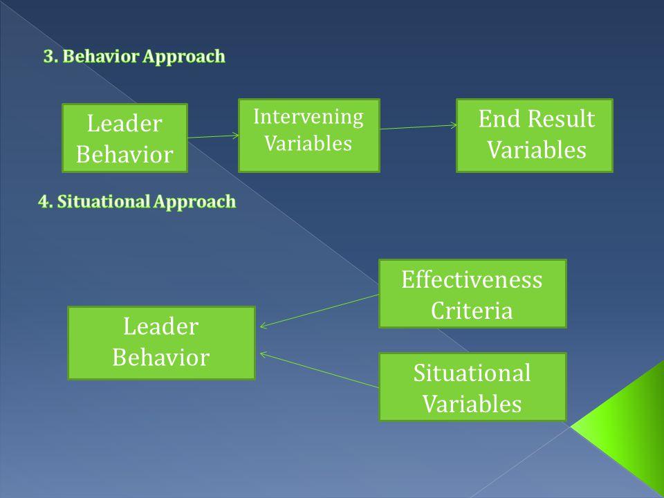 Leader Traits, Skill, Behavior Effectiveness Criteria Situational Variables