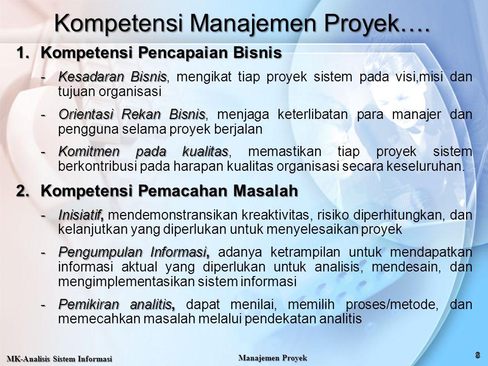 Kompetensi Manajemen Proyek…. 1.Kompetensi Pencapaian Bisnis -Kesadaran Bisnis -Kesadaran Bisnis, mengikat tiap proyek sistem pada visi,misi dan tujua