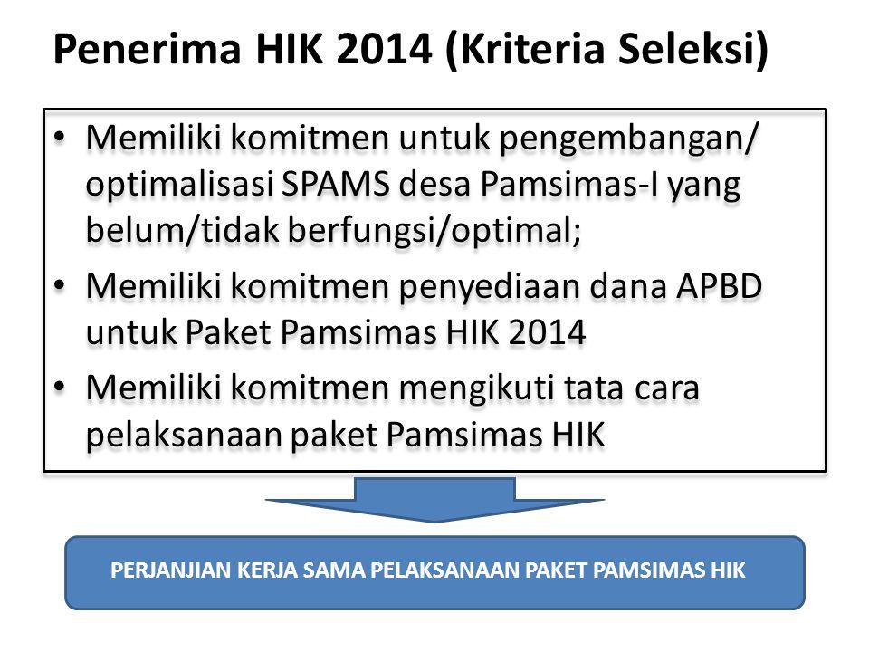 Penerima HIK 2014 (Kriteria Seleksi) Memiliki komitmen untuk pengembangan/ optimalisasi SPAMS desa Pamsimas-I yang belum/tidak berfungsi/optimal; Memi