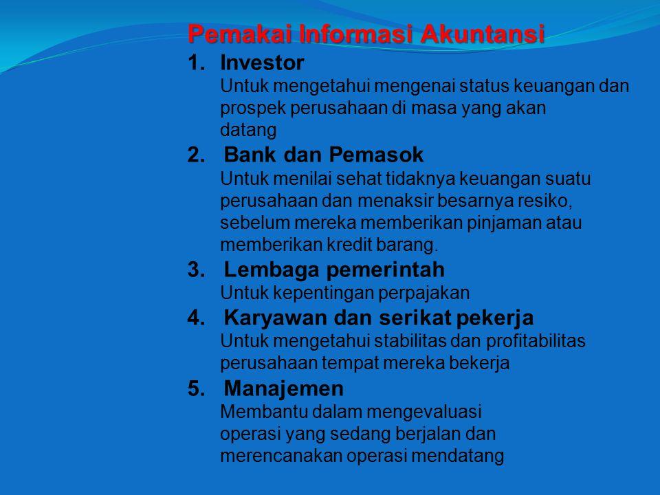 Pemakai Informasi Akuntansi 1.Investor Untuk mengetahui mengenai status keuangan dan prospek perusahaan di masa yang akan datang 2.