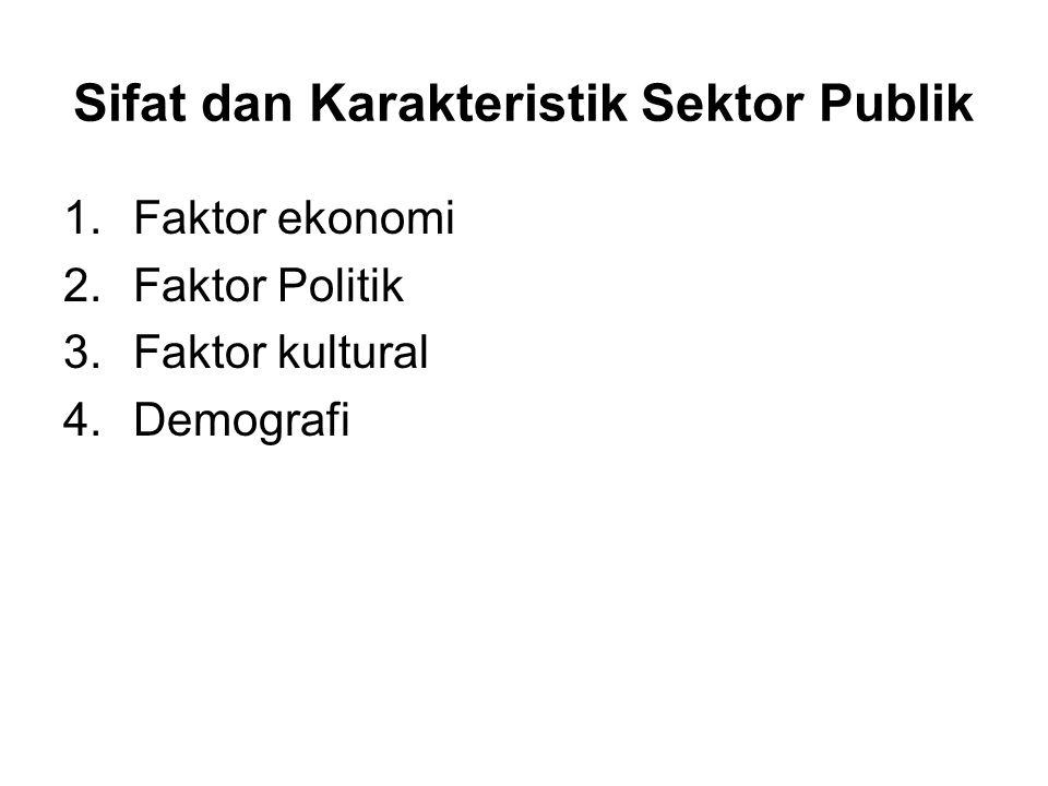 Sifat dan Karakteristik Sektor Publik 1.Faktor ekonomi 2.Faktor Politik 3.Faktor kultural 4.Demografi