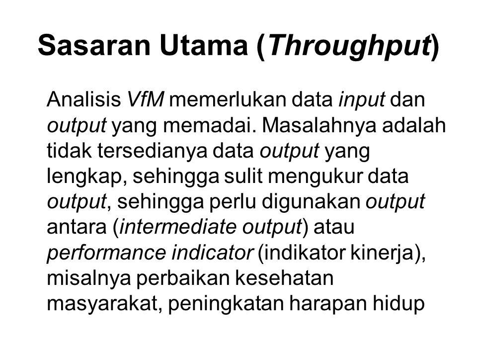 Sasaran Utama (Throughput) Analisis VfM memerlukan data input dan output yang memadai. Masalahnya adalah tidak tersedianya data output yang lengkap, s