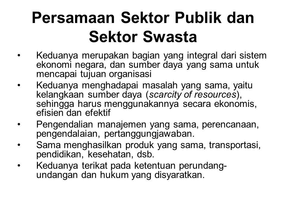 Persamaan Sektor Publik dan Sektor Swasta Keduanya merupakan bagian yang integral dari sistem ekonomi negara, dan sumber daya yang sama untuk mencapai