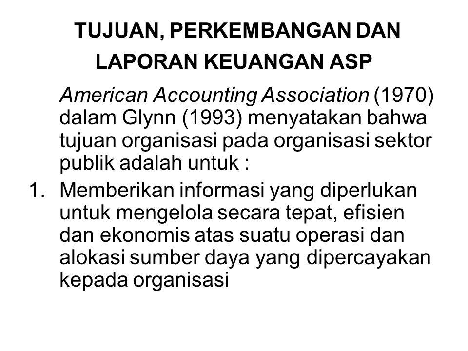 TUJUAN, PERKEMBANGAN DAN LAPORAN KEUANGAN ASP American Accounting Association (1970) dalam Glynn (1993) menyatakan bahwa tujuan organisasi pada organi