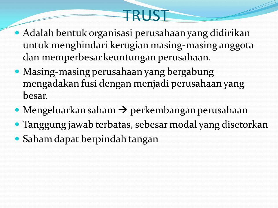 TRUST Adalah bentuk organisasi perusahaan yang didirikan untuk menghindari kerugian masing-masing anggota dan memperbesar keuntungan perusahaan. Masin