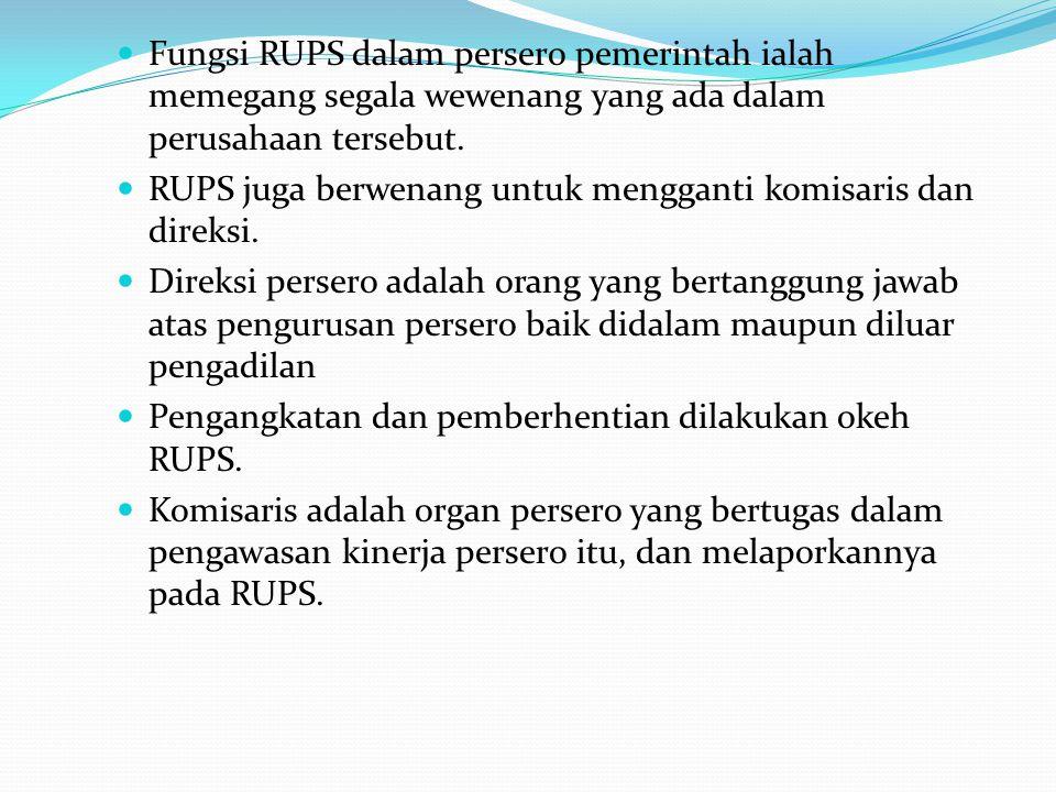 Fungsi RUPS dalam persero pemerintah ialah memegang segala wewenang yang ada dalam perusahaan tersebut. RUPS juga berwenang untuk mengganti komisaris