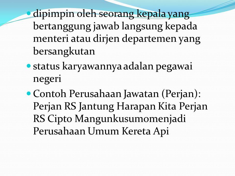 Perusahaan jawatan kereta api(PJKA),bernaung di bawah Departemen Perhubungan.Sejak tahun 1991 Perusahaan Jawatan Kereta Api (PJKA) berubah menjadi Perusahaan Umum Kereta Api (PERUMKA) berubah menjadi Perusahaan Negara Kereta Api (PENKA),dan yang terakhir berubah nama menjadi PT.Kereta Api Indonesia (PT.KAI).