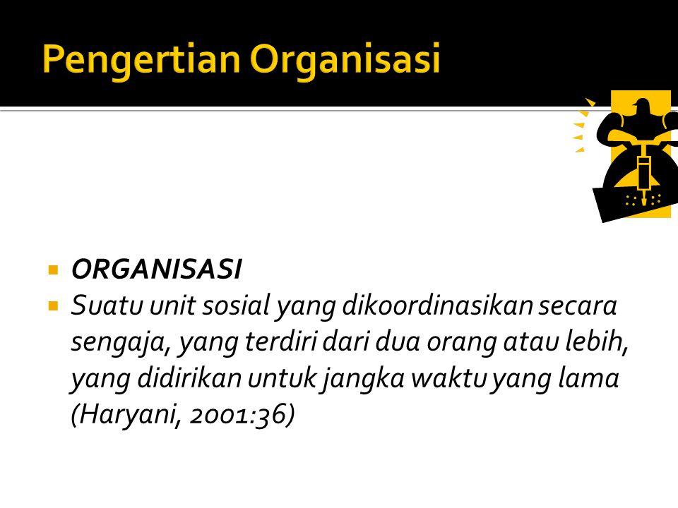  ORGANISASI  Suatu unit sosial yang dikoordinasikan secara sengaja, yang terdiri dari dua orang atau lebih, yang didirikan untuk jangka waktu yang lama (Haryani, 2001:36)